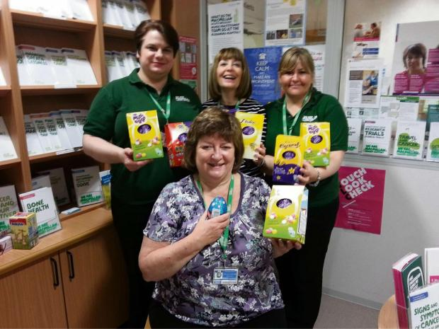 Evesham Journal: Macmillan information and support services lead at Worcester Royal Hospital Kay Tandy and her volunteers