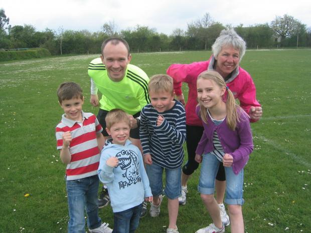 Getting in training for the Crowle 10k and Fun Runs are (back row L-R) Peter Battle and Caroline Brookes, (front row) Charlie Brooks (7) and Harry Brooks (4), Charlie Dixon (8) ad Hannah Dixon (10).