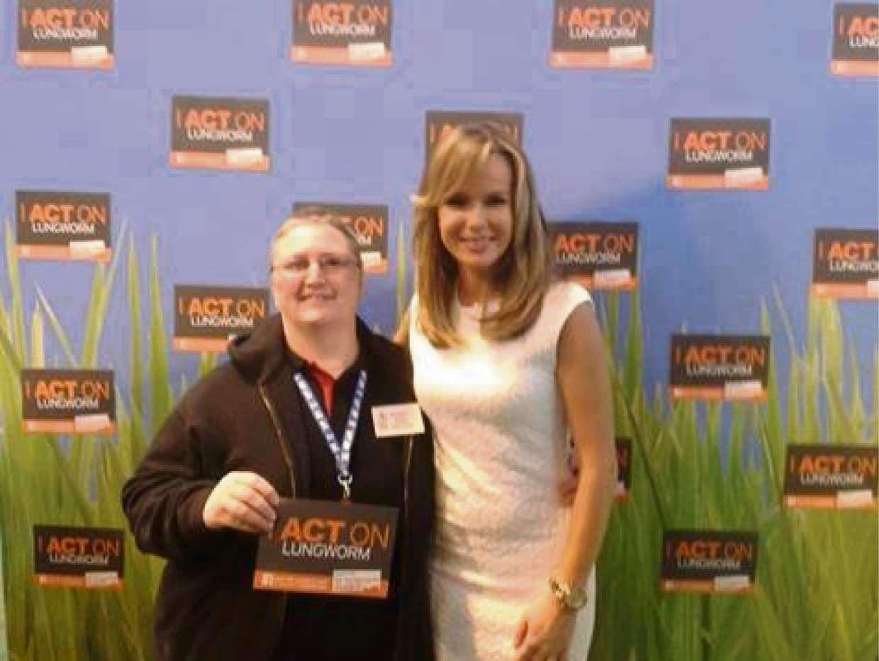 Angela Hayden, who recently launched Top Dogs online, at Crufts with TV personality Amanda Holden.