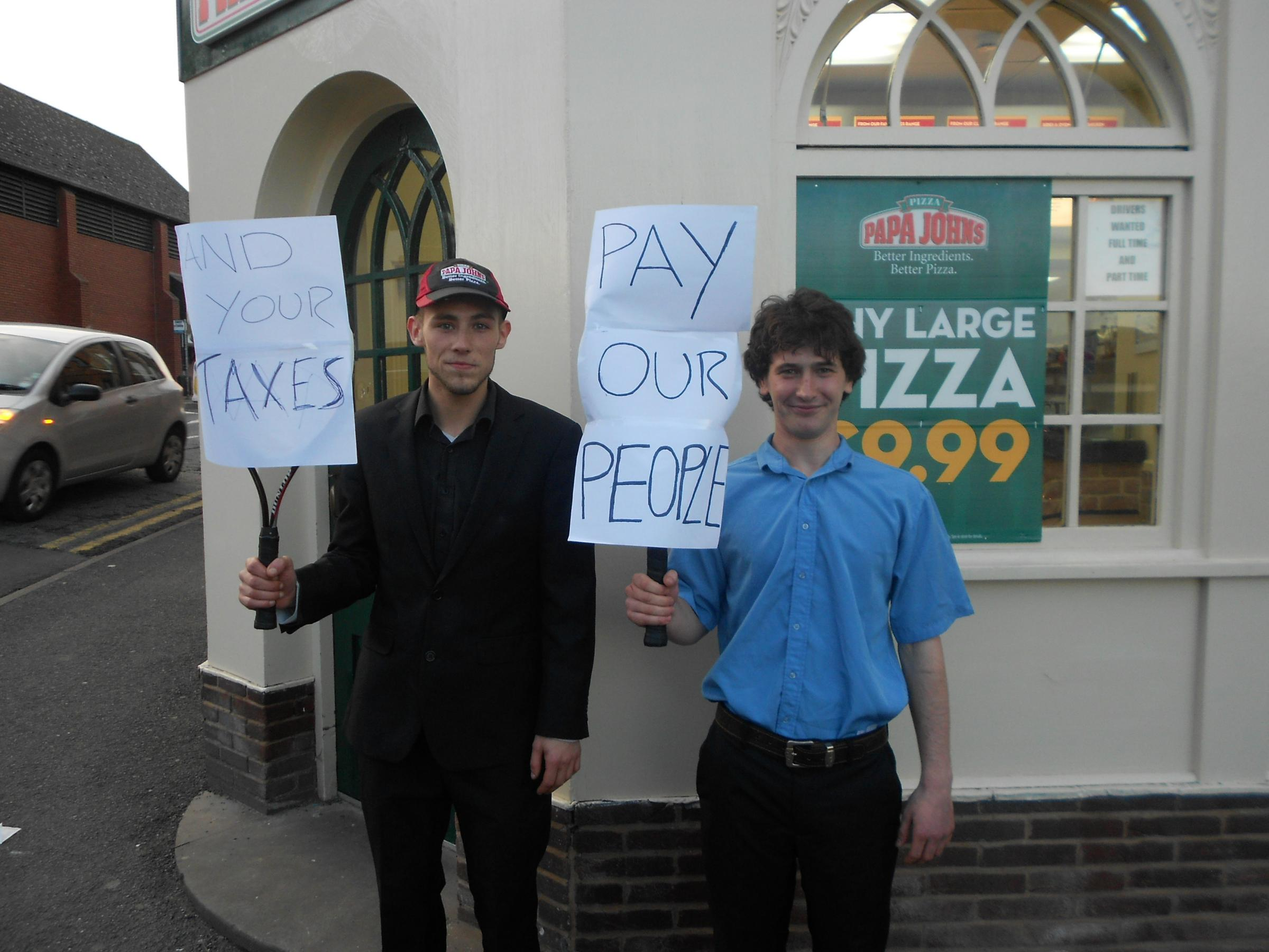 Pizza protest in St John's, Worcester