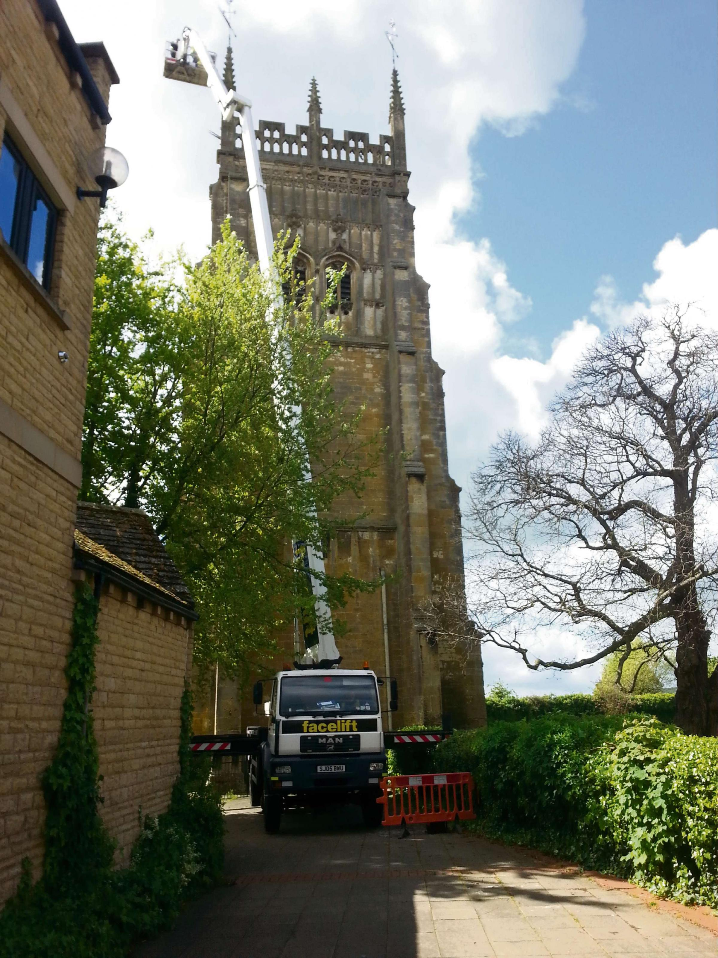 Cherry Picker marks first steps of work on Evesham's Abbey Bell Tower