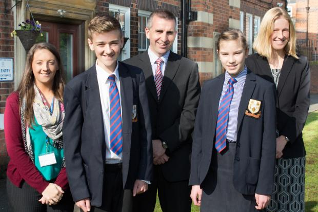 Miss Debra Montgomery (PGCE student teacher), Callan Given (Year 9 student), Dr Tony Evans (Headteacher), Rachel Phillips (Year 9 student), Mrs Helen Wood (Deputy Headteacher).