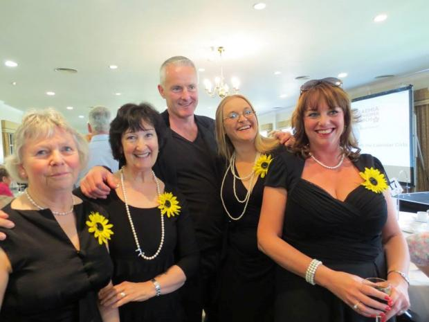Some of the Calendar Girls from the Norbury Theatre in Droitwich with writer Tim Firth.