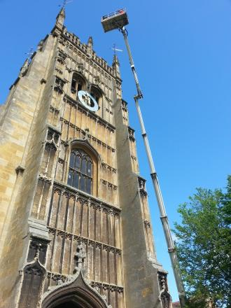 Work has begun on the Abbey Bell Tower in Evesham.