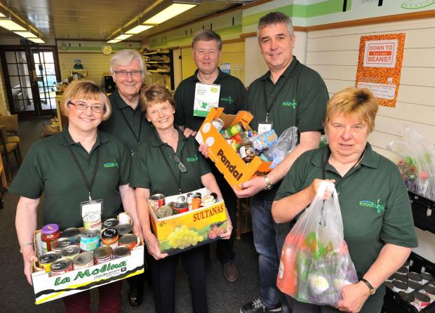 John Anyon      20/5/14         2114602701  First open day of the new Pershore Food Bank on Church Street on Tuesday...........Volunteers, Lorraine Dawes, Paul and Sue Wagstaff, Phil Libell, Rev Mark Jennings and Lynne Raymer with some of the produce avai
