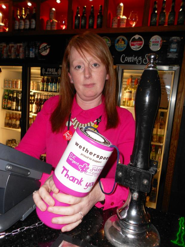 Evesham Journal: The manager of the pub Claire Heitzman was shocked by the theft of the three charity boxes after the generosity of her staff and customers