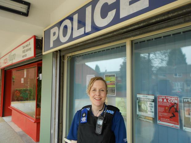PCSO Di Smith outside the police station in Cranham Drive on the day she went on a drugs raid in Tolladine in April