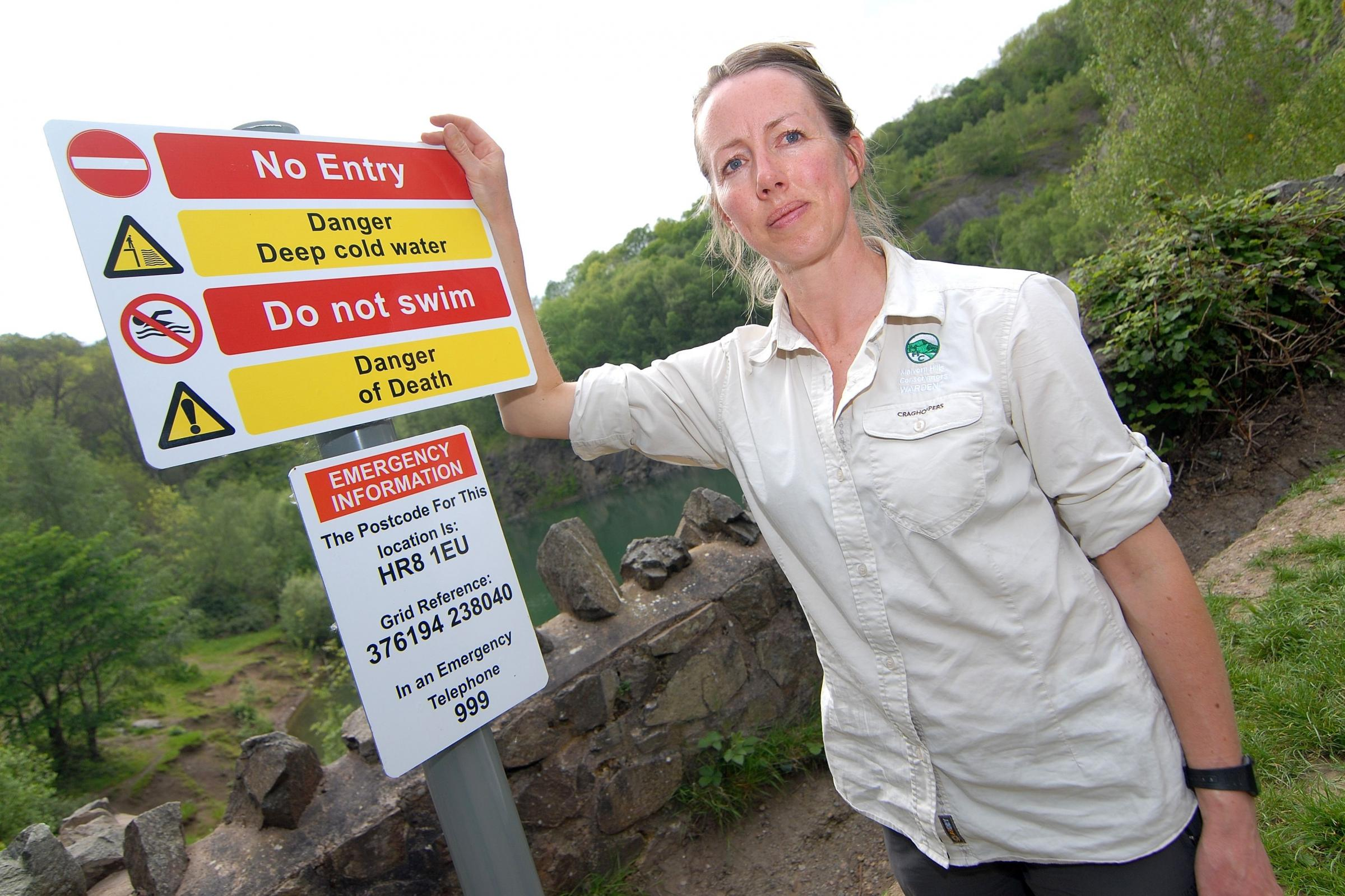 Safety campaign deters visitors to death lake quarry in the Malvern Hills
