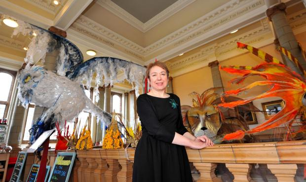John Anyon         02/05/14          1814588202  Worcester Museum and Art Gallery Marketing and Events Manager, Helen Large with some of the Moths Parade costumes currently on show at the gallery (5876886)