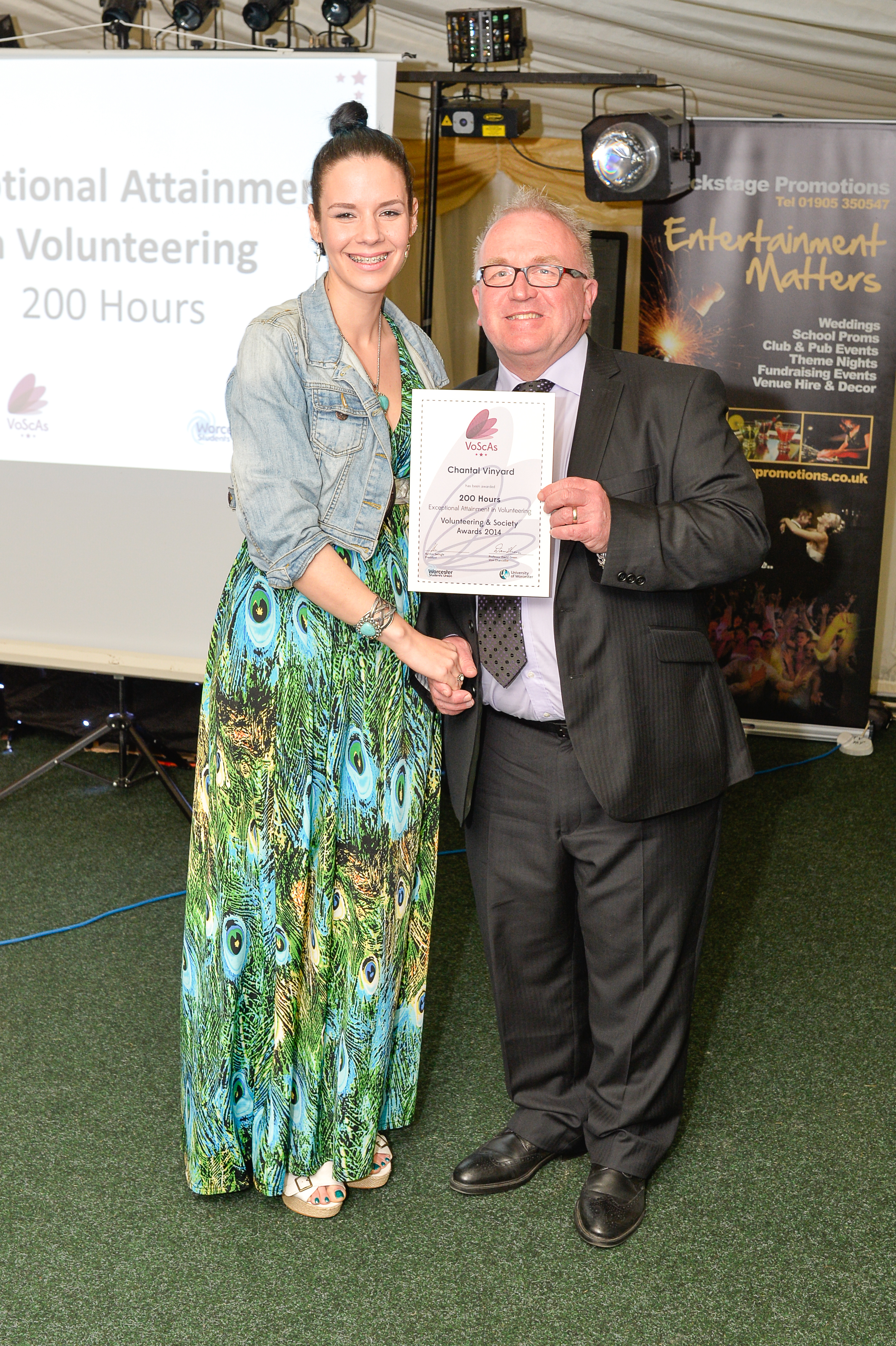 University of Worcester student Chantal Vinyard receiving her award award from University of Worcester Pro Vice Chancellor Students, John Ryan.