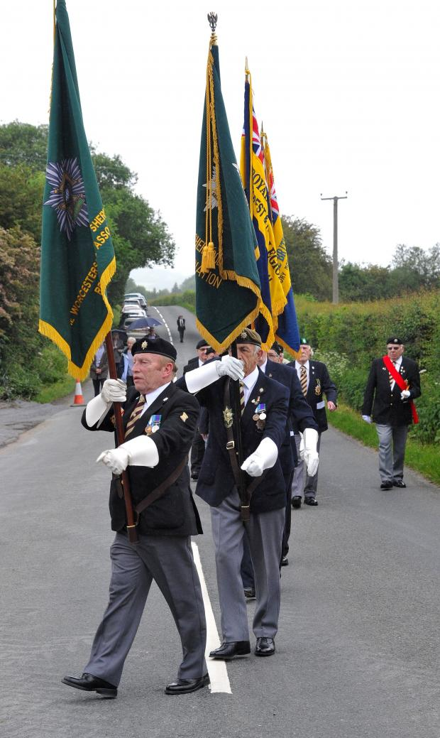 Evesham Journal: John Anyon         02/06/14       2314612801  Dedication of the new Pensax and Stockton War Memorial for Peace on Monday...................British Legion Standard Bearers arrive (6742179)