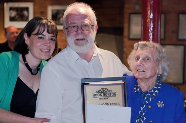 l-r Claire Brennan, Financial Controller at Hook Norton Brewery, John Wilsher, owner of the Queens Head, Sedgeberrow, and Alice Churton, one of Hooky's Board of Directors.