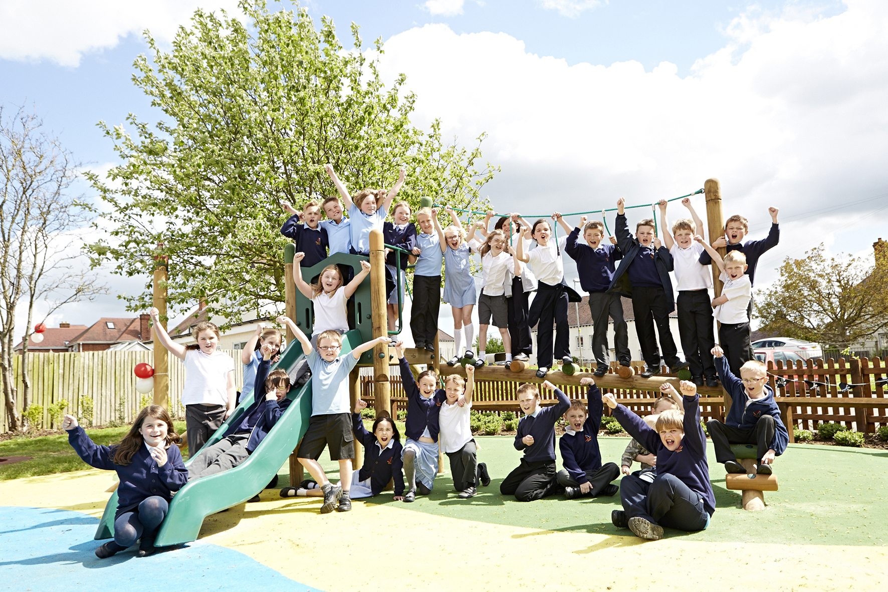Children from Badsey First School enjoy new play area