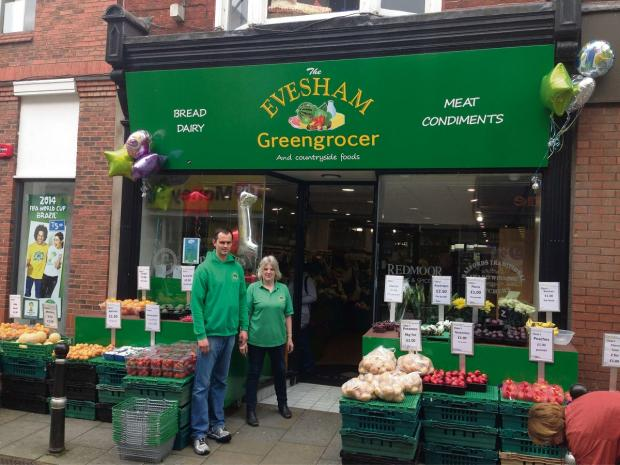 Evesham Journal: GOING GREEN: Rob Bowers and Karen Walden outside the Evesham Greengrocer