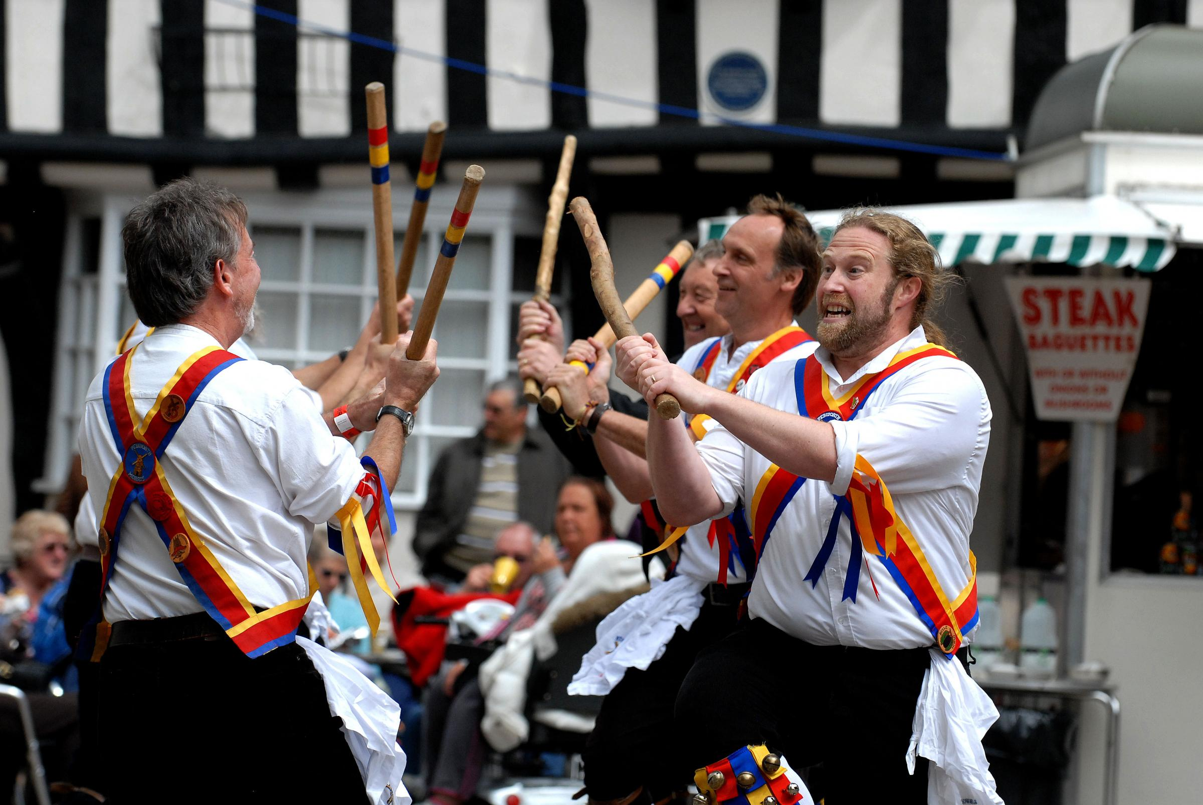 BELLS: Pebworth Morris Men in full flow at the Vale of Evesham Festival Weekend, The National Morris Weekend, in 2012.