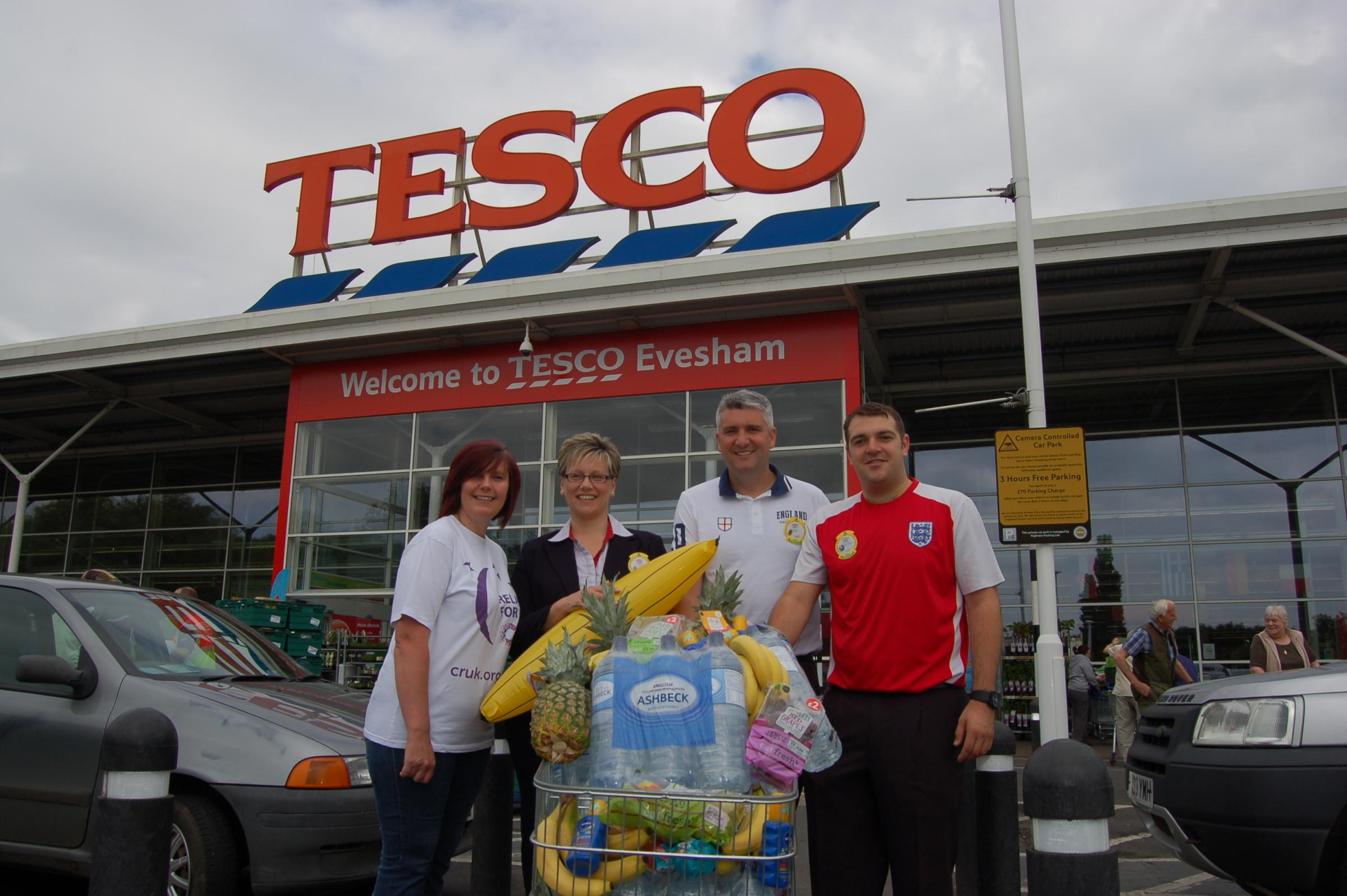 Sarah Reade (Relay For Life Cancer Awareness Chair) Tracey Richardson, Nick Dawe (Store manger) and Andy Williams.
