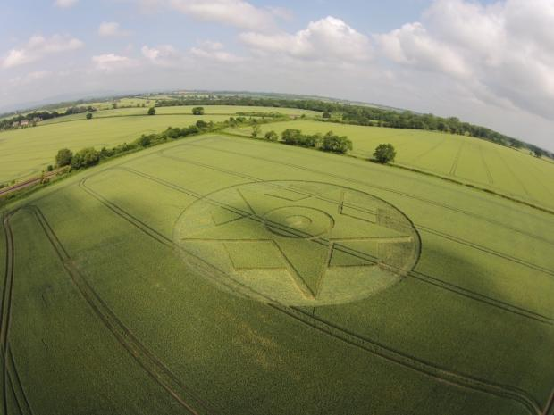 Evesham Journal: The crop circle has appeared in a field near Pershore, photographed by Nigel Pritchett.