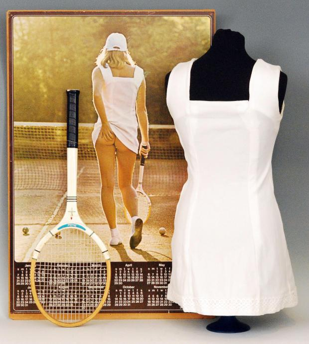 Evesham Journal: Undated Fieldings Auctioneers Ltd handout photo of the famous Tennis Girl poster, as the white summer dress from the 1970s is to be auctioned. PRESS ASSOCIATION Photo. Issue date: Wednesday June 25, 2014. The unique handmade dress with lace trim was made