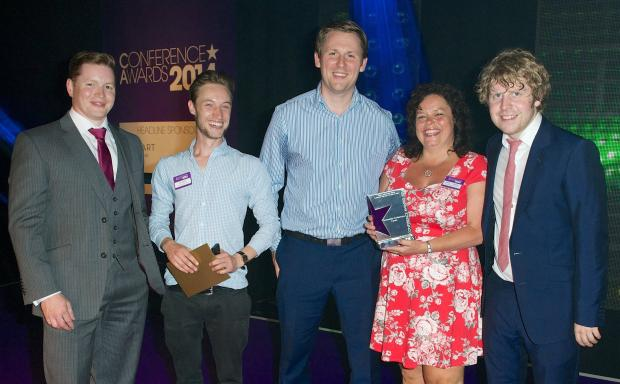 l-r: Adam Hutchinson from Gaudio (award sponsor), Farncombe Operations Supervisor Dan Harris, Catering Manager Rosie Venner and Business Development Manager Nick Sims, with Josh Widdicombe, comedian and host of the Conference Awards 2014.