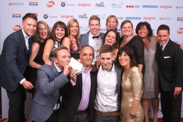 The Free Radio Herefordshire and Worcestershire team with their Station of the Year award at the Arqiva Commercial Radio Awards.