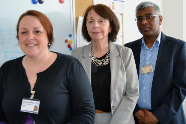 Evesham Journal: Caroline Lister, Jane Schofield and Phil Sanmuganathan from Worcestershire Acute Hospitals NHS Trust's stroke reconfiguration team