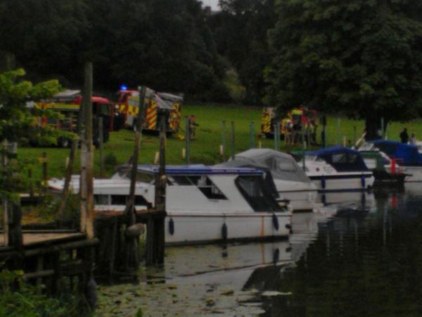 DRAMA: Firefighters at the scene of the boat fire at Bredon