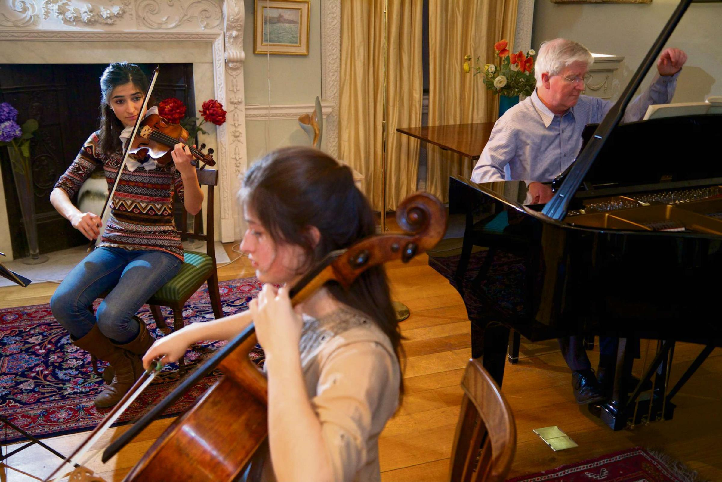 Grier Trio rehearsal at the home of Bob Boas.