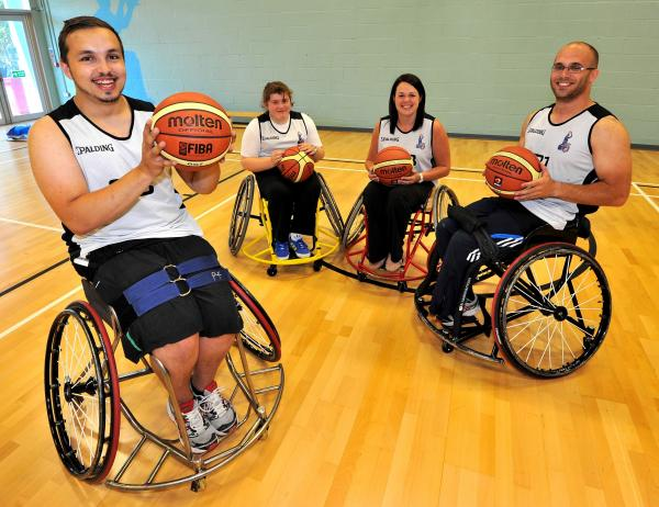 ON THE BALL: Members of the Worcester Wolves wheelchair team. From left: Ollie Buncombe, Chloe Parker, Aimee Hillson and Adam Nixon.