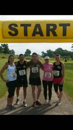 Chelsie Griffin, Andrew Calleja, Matthew Sayer, Helen Keaney and Dee Hinton from Xtreme Boot Camper taking on the Edge Hill Half Marathon.