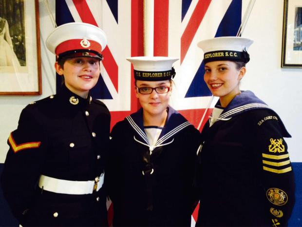 Lance Corporal Louise Karlinski, Able Cadet Abbi Attwood and Petty Officer Cadet Paige Woodward (left to right).