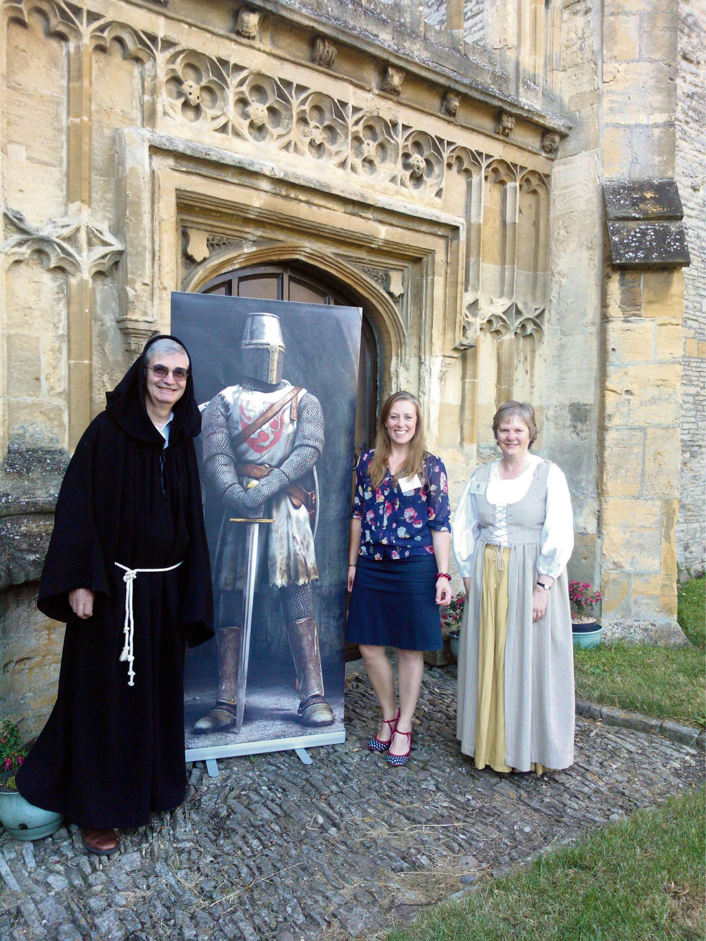 Brother John (John Jenkinson, of the Evesham Hotel) with festival organiser Antonia Coles and Lady Clare (Clare Bostle, of the Simon de Montfort Society) at the launch of the Battle of Evesham Festival.
