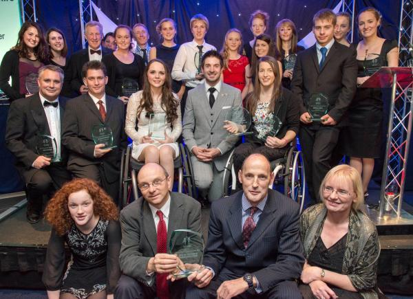 Olympic gold medallist Zac Purchase with last year's two counties' sports awards winners.