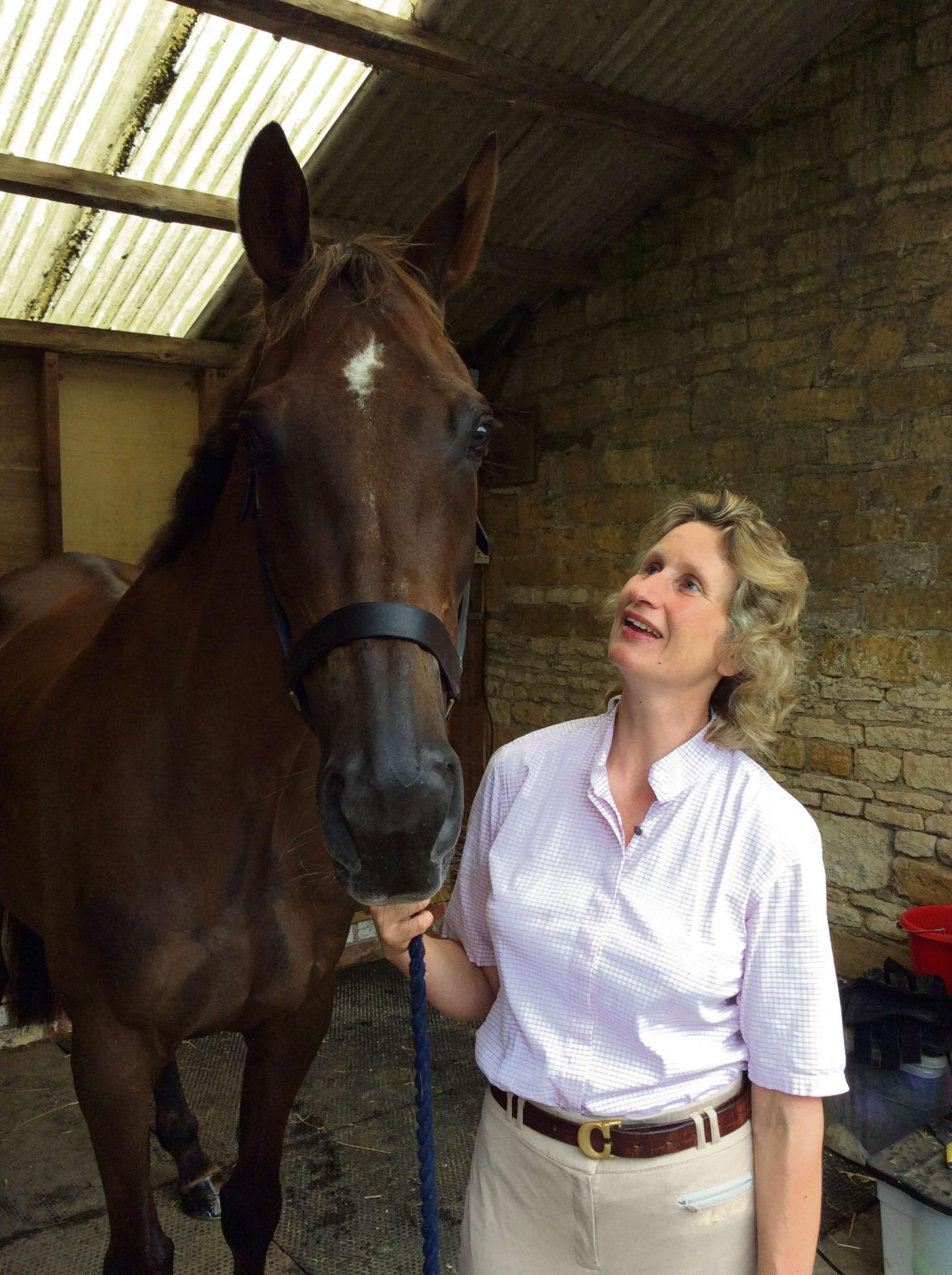 Charlotte Alexander with Denman, who has owned him since he retired in 2011 after suffering a training injury.