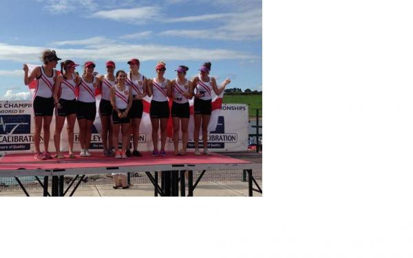 Evesham Rowing Club member Imogen Dalivalle (front) enjoyed success with England.