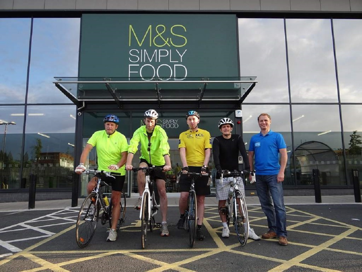 The team at Evesham's Marks and Spencer store set off on their cycle ride