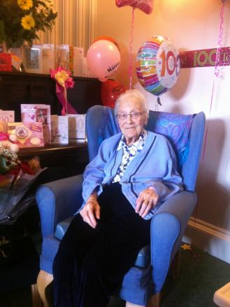 Florence Fagan, who likes to be known as Evelyn, after her 100th birthday celebrations.