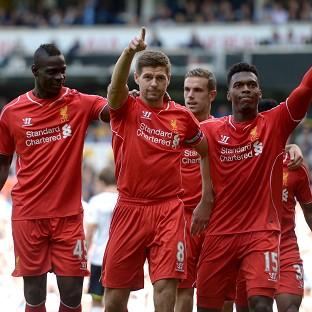 Steven Gerrard, centre, scored Liverpool's second goal in anoth