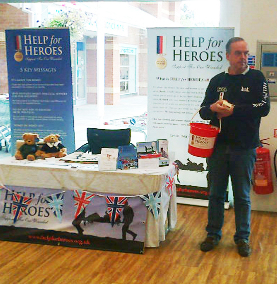 ATTENSHUN: Stand by your collecting bucket, Tim Kidwell of Help for Heroes