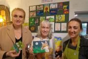 Mandie Fitzgerald, Acorns fundraising officer, gallery owner Sue Lim and Carol Brooks from Silverfish Designs admiring some of this year's 3D entries for The Big Draw at Blue-ginger gallery Cradley. (s)