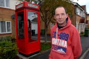 4514746205 Paul Jackson 03.11.14 Evesham - Anthony Green with a K8 phone box in his front garden.  (12853404)