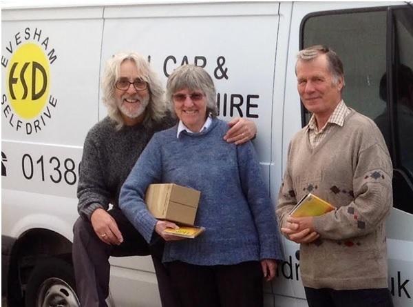 Gordon Giltrap, Sue Sollis and volunteer Neil Batchelor.