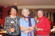 SECURING SUCCESS: Dinah Wood (left) and Gill Smith (right) receive the Nora Olsen trophies from Evesham ladies' captain Enid Walker. Picture: ANGELA FLETCHER.