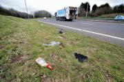 AWFUL: Discarded rubbish down the A4440 Swinesherd Way, Worcester earlier this month