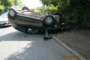 Car left on its roof after dramatic Droitwich crash