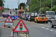 LIGHTS: Roadworks on Newtown Road, Worcester at the end of last month