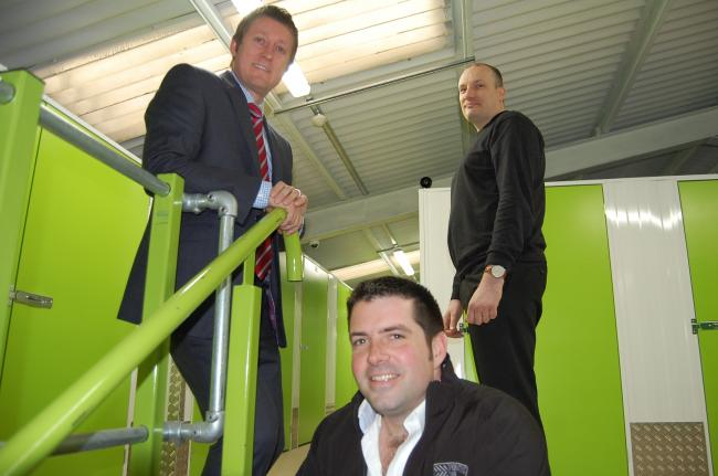 NEW VENTURE: Barclays relationship director Neil Barnes, Adam Wood managing director of Reddistores Self Storage, and manager Ian Morris.