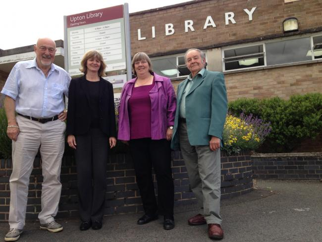 From left to right; Chris Mair, Carol Brown, Lucy Hodgson and Roger Sutton. Outside Upton-upon-Severn library.