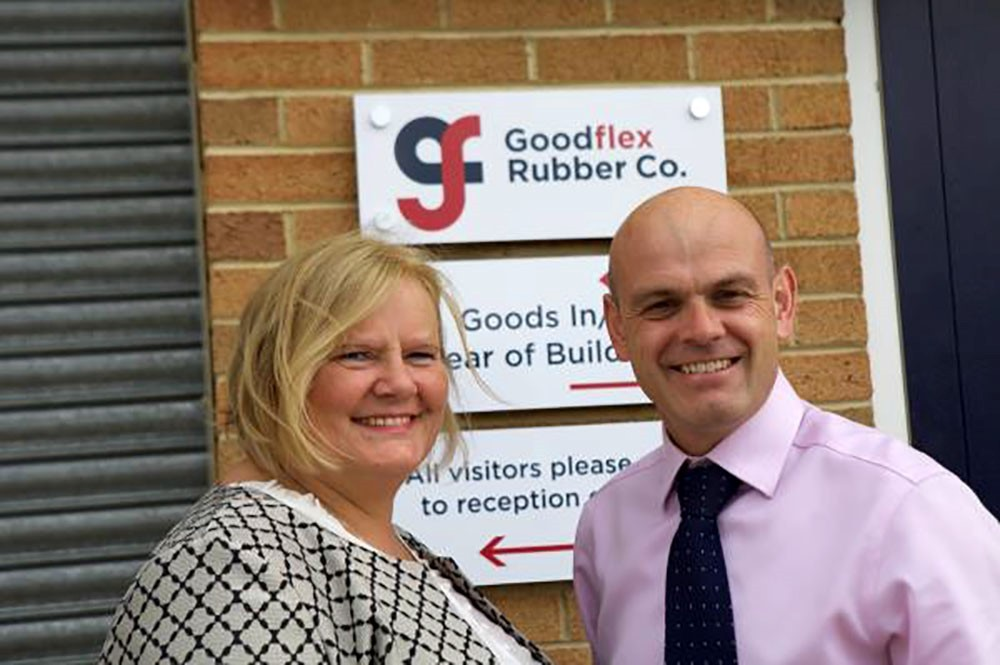 EXTENSION OPENING: Rachel Eade of the Manufacturing Hub with Goodflex managing director Mark Dufty