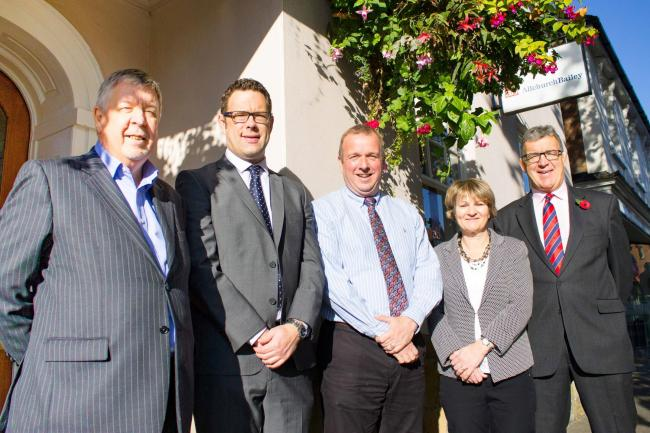 EXPANDING: Dale Montgomery (Cotswold Accountancy) with Will Bailey, David Brown, Lin Andrew and Bob Bailey, all of Allchurch Bailey.
