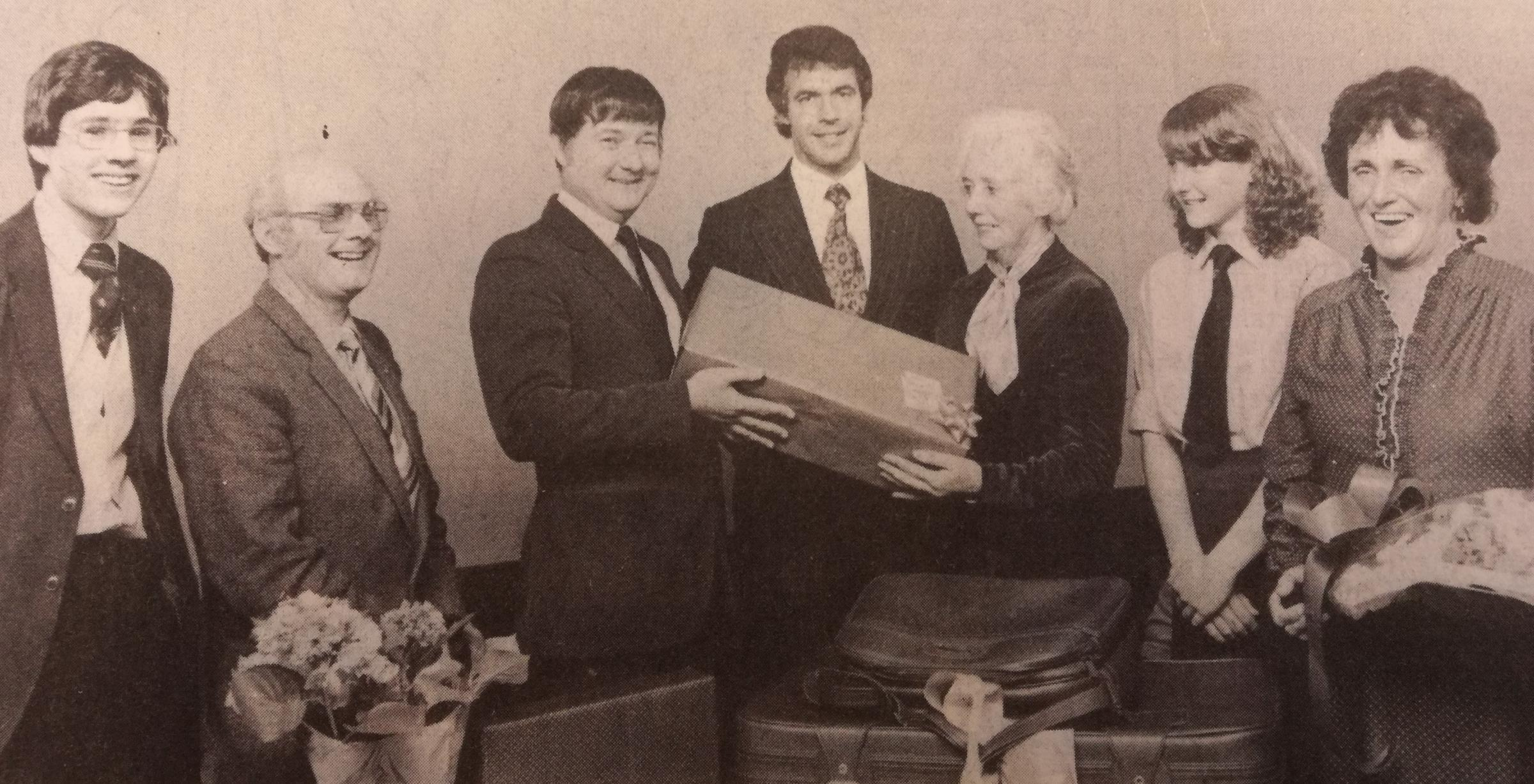 IN April 1983, Ludlow School secretary Brenda Hughes stepped down after 19 years in the post. School pupils go together to buy a set of matching cases and a plant to mark her farewell and these were presented by head boy and girl Christopher Cant and Wend